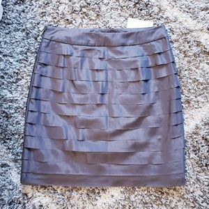 NWT Ann Taylor LOFT Grey Ruffle Pencil Skirt 0